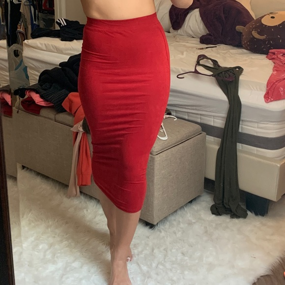 AKIRA Dresses & Skirts - AKIRA red faux suede midi skirt